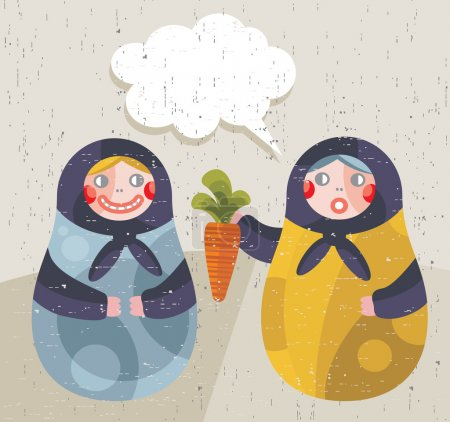 Illustration for Matreshka doll with news about healthy life style. Vector illustration in retro style. - Royalty Free Image