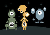 Robots: pregnant and mother with children