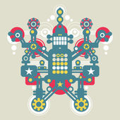 Big colorful robot Vector illustration of monster