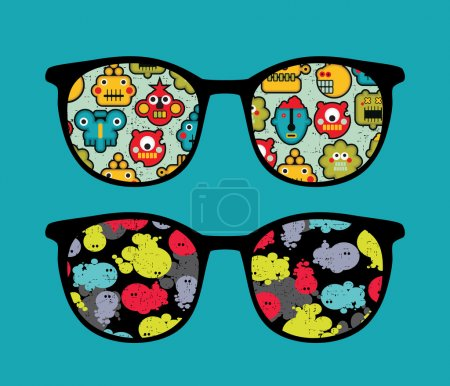 Retro sunglasses with robots and monsters reflection in it.