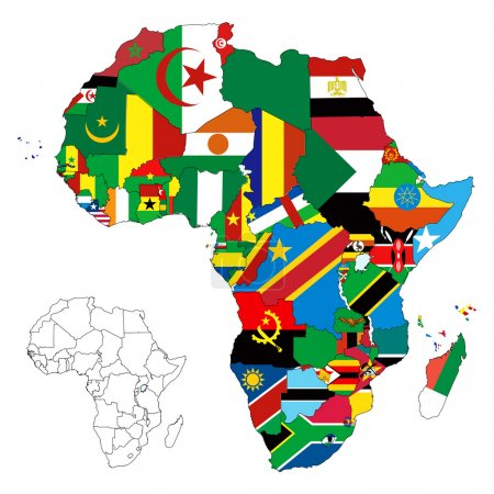 Illustration pour Illustration vectorielle pour le continent africain. Plus de 50 pays dont plusieurs petites îles, rivières et lacs non visibles à moins d'un zoom avant. Très modifiable - image libre de droit