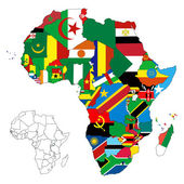 Africa Continent Flag Map