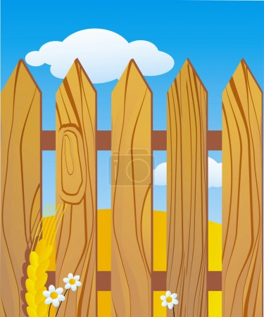 Illustration for Usual rustic wooden fence - Royalty Free Image