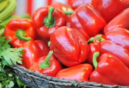 Photo for Red peppers in the basket - Royalty Free Image