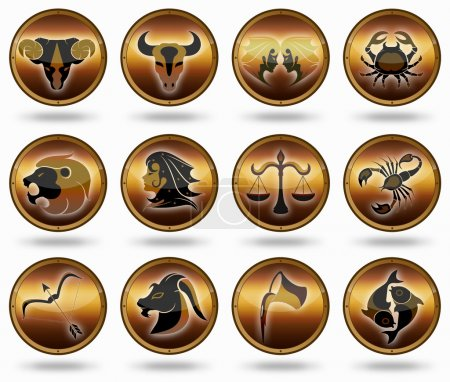 Photo for Horoscope birth zodiac star signs. Illustrations of the twelve horoscope zodiac star signs - Royalty Free Image