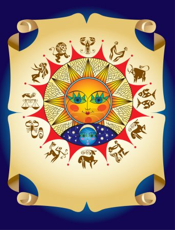 Illustration for Horoscope symbols with sun and moon - Royalty Free Image