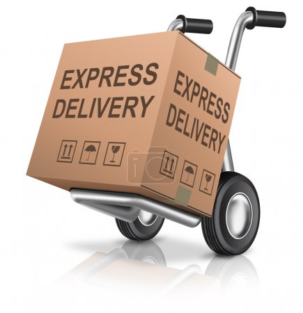 Photo for Express delivery cardboard box on hand truck with text concept for order shipping of online webshop package sending for web shop commerce - Royalty Free Image