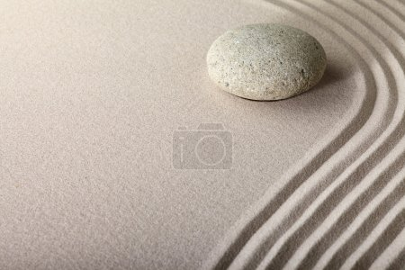 Photo for Zen sand stone garden japanese meditation relaxation and spa image spiritual balance round rock - Royalty Free Image