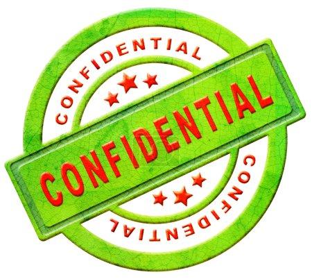 Photo pour Timbre confidentiel secret ou privé des renseignements personnels ou l'icône texte rouge sur vert isolé sur info espion espionnage blanc - image libre de droit