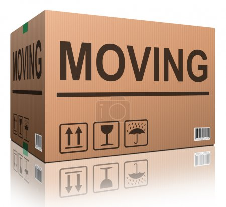 Photo for Moving box cardboard brown package with text relocation - Royalty Free Image