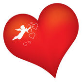 Red heart with cupid silhouette vector illustration