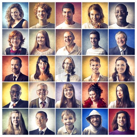 Photo for Composition of portraits of happy and smiling people - Royalty Free Image