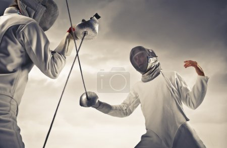 Photo for Two fencers facing each other - Royalty Free Image