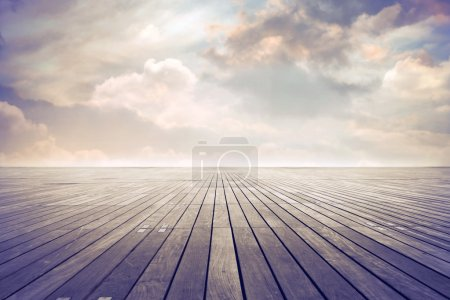 Photo for Parquet floor under cloudy sky - Royalty Free Image