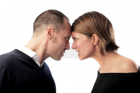 Angry man and wife quarreling...