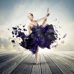 Beautiful elegant ballerina dancing on a parquet f...