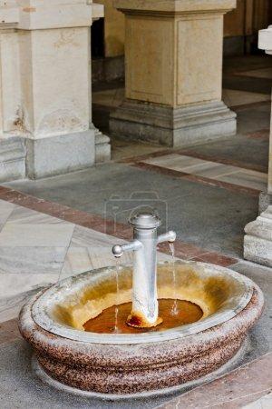 Boiling spring in Mlynska Colonnade, Karlovy Vary (Carlsbad), Cz