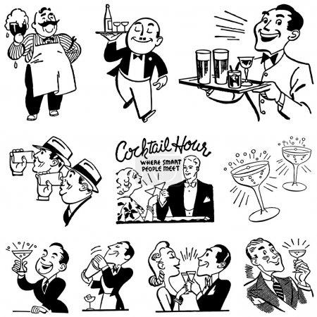 Illustration pour Vector Vintage Bar and Drinking Graphics. Tous les graphiques sont séparés . - image libre de droit