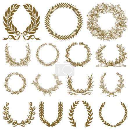 Illustration for Vector Bronze Wreath and Laurel Set. Easy to edit. All pieces are separate. - Royalty Free Image