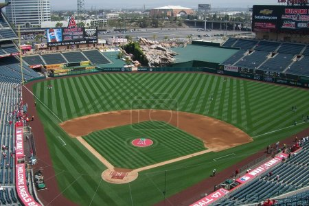 Sunny day baseball game at Los Angeles Angel Stadi...