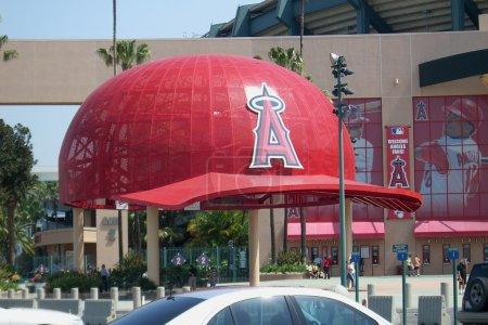 Angels fans gather under massive baseball caps at ...