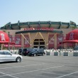 Angels fans head for the gates before a daytime ba...
