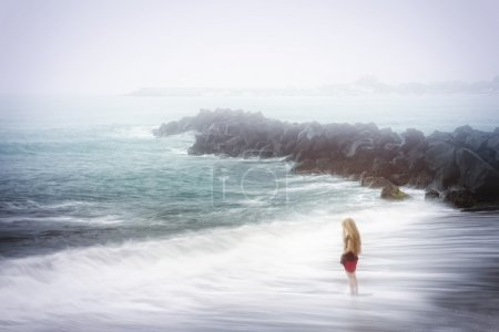 Photo for Depression and sadness concept - lonely woman and foggy sea - Royalty Free Image