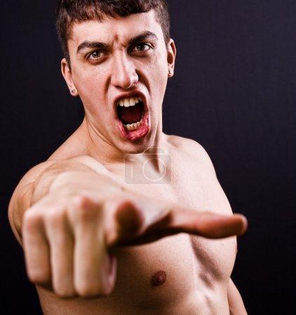 Scream of furious angry violent man