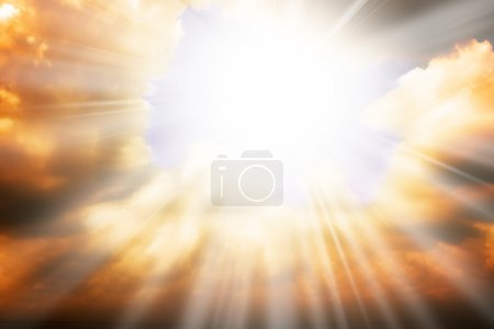 Photo for Heaven religion concept - sun rays through the clouds - Royalty Free Image