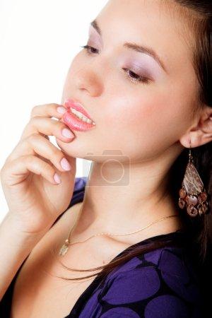 Photo pour Portrait de glamour de l'élégance sensuelle jeune mannequin - image libre de droit