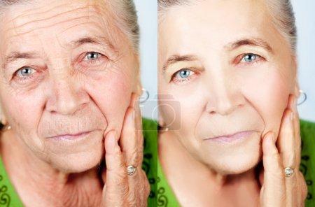 Photo pour Concept de beauté et de soins de la peau - haute femme sans vieillissement rides - image libre de droit