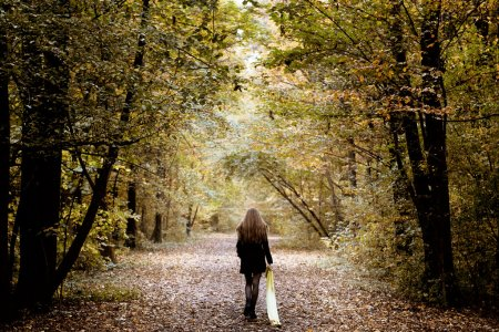 Photo for Sad lonely woman walking alone into the woods - Royalty Free Image