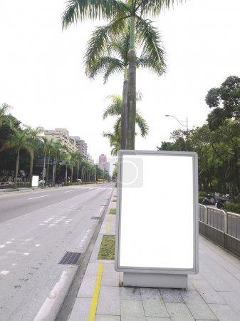 Photo for Blank billboard on sidewalk - Royalty Free Image