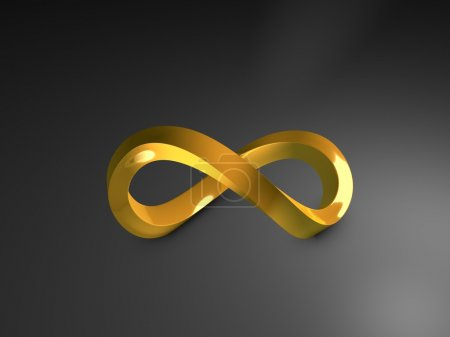 Photo for 3d image, 3d gold infinity shape, over dark background - Royalty Free Image