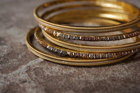 Detail shot of ornate Indian bangles for wedding...