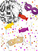 Vector illustration of colorful heart balloons and candys on a party background