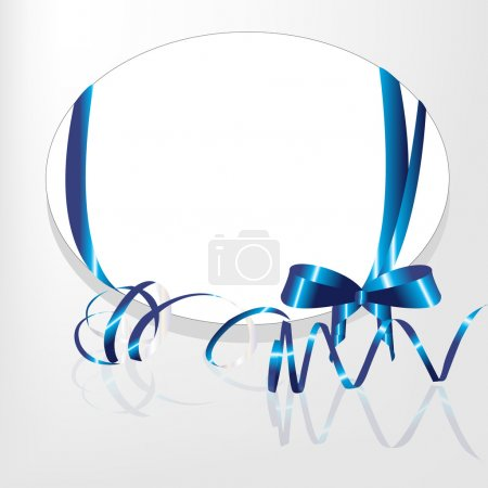 Oval place for the text decorated with a dark blue tape and a streamer