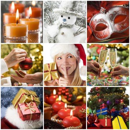 Photo pour Beau collage de Noël réalisé à partir de neuf photos - image libre de droit