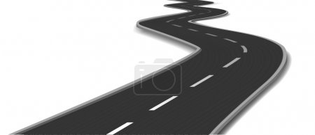 Curved road bridge. Vector illustration...