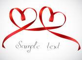 Red hearts ribbon bow Vector