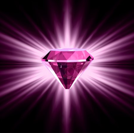 Pink diamond on bright background. Vector