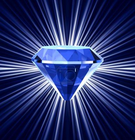 Illustration pour Diamant bleu sur fond lumineux. Illustration vectorielle - image libre de droit