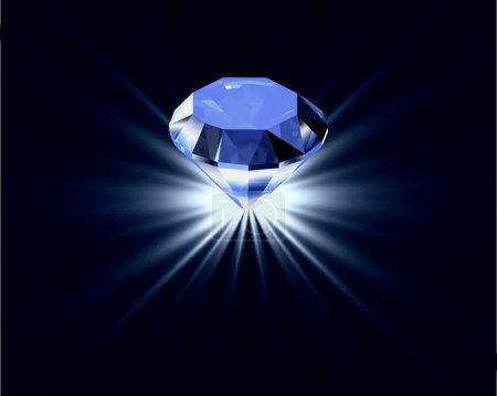 Blue diamond with reflection. Vector bright background