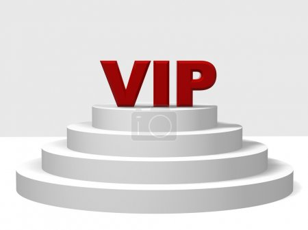 3d red letters VIP on a white pedestal with four s...