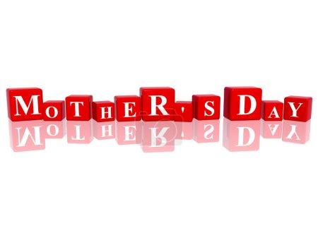 Photo pour 3D cubes rouges avec des lettres rend la fête des mères - image libre de droit