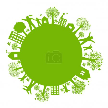 Photo for Green Eco Earth, Isolated On White Background, Vector Illustration - Royalty Free Image
