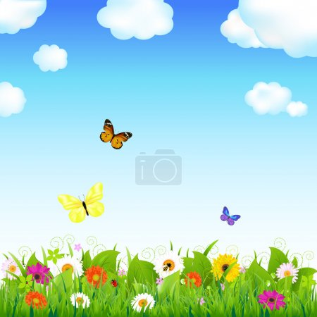 Illustration for Flower Meadow With Butterflies, Vector Illustration - Royalty Free Image