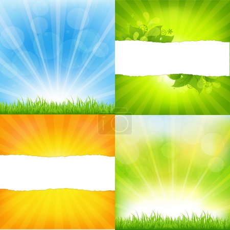 Illustration for Green And Orange Backgrounds With Sunburst, Vector Background - Royalty Free Image