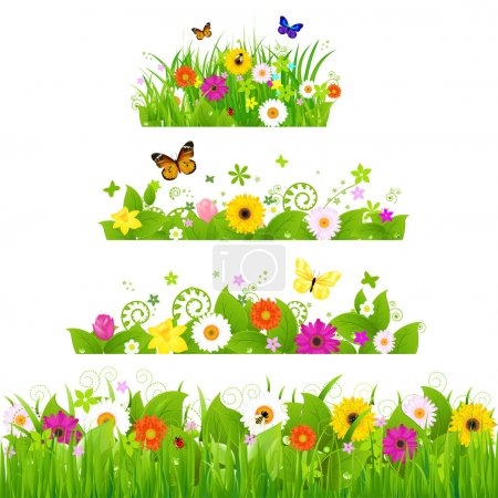 Photo for Grass With Flowers Set, Vector Illustration - Royalty Free Image