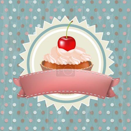 Illustration pour Gâteau d'anniversaire avec cerise, Illustration vectorielle - image libre de droit